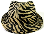 Fedora Hats Wholesale - Animal Print Zebra - Black/Light