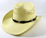 Cowboy Straw Hats Wholesale - Raffia Cowgirl Hats - Khaki | Black Belt