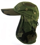 Ear Flap Baseball Cap Style Sun Protection Hats Wholesale - Green Camouflage