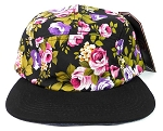 Blank 5 Panel Floral Camper Hats/Caps - Black Flowers