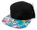 Blank 5 Panel Floral Camper Hats/Caps - Black | Turquoise Flower Brim