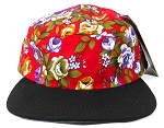Blank 5 Panel Floral Camper Hats/Caps - Red | Black