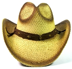 Cowboy Western Straw Hat Wholesale - Brown Band & Buttons