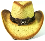 Cowboy Western Straw Hat Wholesale - Brown Band & Longhorn & Lone Star
