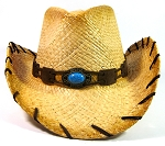 Cowboy Western Straw Hat Wholesale - Brown Band & Turquoise Blue Bead
