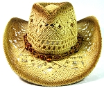 Cowboy Western Straw Hat Wholesale - Lightly Toasted & Bead Beads String