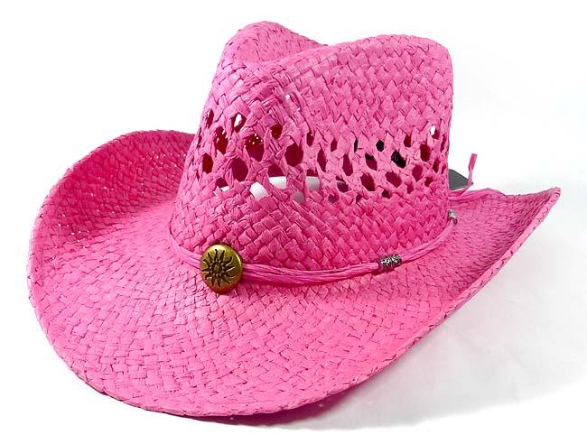 Wholesale Western Cowboy Straw Hats - Hot Pink ef459152614
