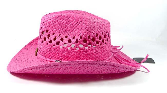086a9a358db39 Wholesale Western Cowboy Straw Hats - Hot Pink