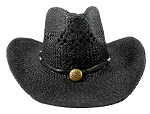 Wholesale Western Cowboy Straw Hats - Black