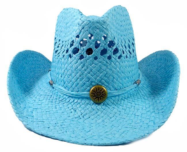 9fa37f2797f Home   ALL HATS   Wholesale Western Cowboy Straw Hats - Turquoise Blue    Aqua