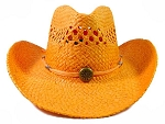 Wholesale Western Cowboy Straw Hats - Orange