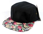 Wholesale 5 Panel Blank Floral Camp Hats - Black | Red