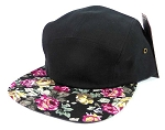 Wholesale 5 Panel Blank Floral Camp Hats - Black | Roses