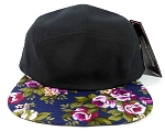 Wholesale 5 Panel Blank Floral Camp Hats - Black | Navy Flower