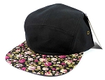 Wholesale 5 Panel Blank Floral Camp Hats - Black | Mini Roses