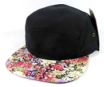 Wholesale 5 Panel Blank Floral Camp Hats - Black | Multicolored Flower