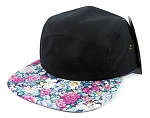Wholesale 5 Panel Blank Floral Camp Hats - Black | Blue
