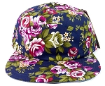 Wholesale 5 Panel Blank Floral Camp Hats - All Flower Navy