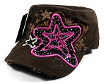 Wholesale Bling Starfish Cadet Hats Caps - Brown