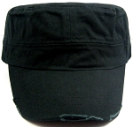 Blank Cadet Hats Wholesale - Black Vintage Distressed Cap
