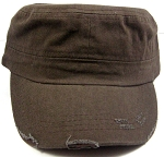 Blank Cadet Hats Wholesale - Brown Vintage Distressed Cap