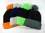 Beanies Wholesale | Pom Pom Beanies Trendy Winter Hats 3 (Left Bk / Orange 7 pcs)