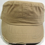Blank Cadet Hats Wholesale - Beige/Khaki Vintage Distressed Cap