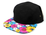 Wholesale Blank 5 Panel Floral Camp Hats Caps - Black | Pink Daisy Brim