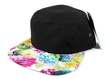 Wholesale Blank 5 Panel Floral Camp Hats Caps - Black | Multicolored Flower