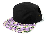 Wholesale Blank 5 Panel Floral Camp Hats Caps - Black | Purple Flower Brim