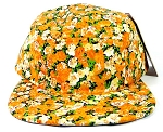 Blank 5 Panel Floral Camp Hats/Caps Wholesale - Orange Flower