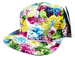 Blank 5 Panel Floral Camp Hats/Caps Wholesale - Multi-Colored Flowers