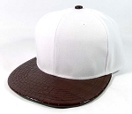 Blank Plain Snapback Hats Wholesale - Alligator Print | White.Dark Brown