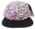 Blank 5 Panel Floral Camp Hats/Caps Wholesale - Purple Flower | Black Brim