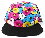 Blank 5 Panel Floral Camp Hats/Caps Wholesale - Pink Daisy | Black Brim