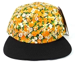 Blank 5Panel Floral Camp Hats/Caps Wholesale - Orange Flower | Black Brim
