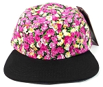 Blank 5 Panel Floral Camp Hats/Caps Wholesale - Pink Flower | Black Brim