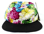 Blank 5 Panel Floral Camp Hats/Caps Wholesale - Multicolored Flower | Black Brim