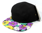 Blank 5 Panel Floral Camp Hats/Caps Wholesale - Black Crown | Purple Daisy