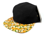 Blank 5 Panel Floral Camp Hats/Caps Wholesale - Black Crown | Orange Flowers