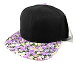 Wholesale Blank Floral Snapback Hat - Black | Purple Flower Brim