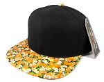 Wholesale Blank Floral Snapback Hat - Black | Orange Flower Brim