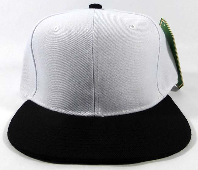 da1793a9 Wholesale Blank Snapback Hats Caps - White | Black Brim