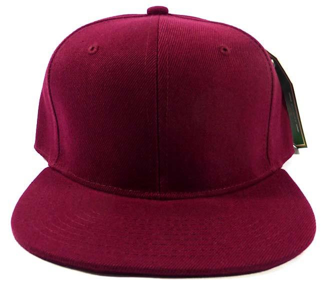 Blank Burgundy Snapback Hats Caps Wholesale - Burgundy Solid 3e3333a0fe0