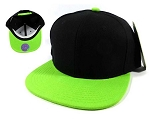 Wholesale Blank Snapback Hats Caps - Black | Lime Green