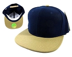 Wholesale Blank Snapback Hats Caps - Navy | Khaki Brim