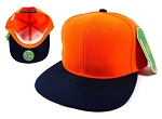 Wholesale Blank Snapback Hats Caps - Orange | Navy Brim