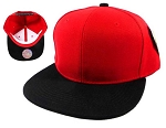 Wholesale Blank Snapback Hats Caps - Red | Black Brim