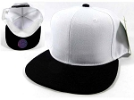 Wholesale Blank Snapback Hats Caps - White | Black Brim