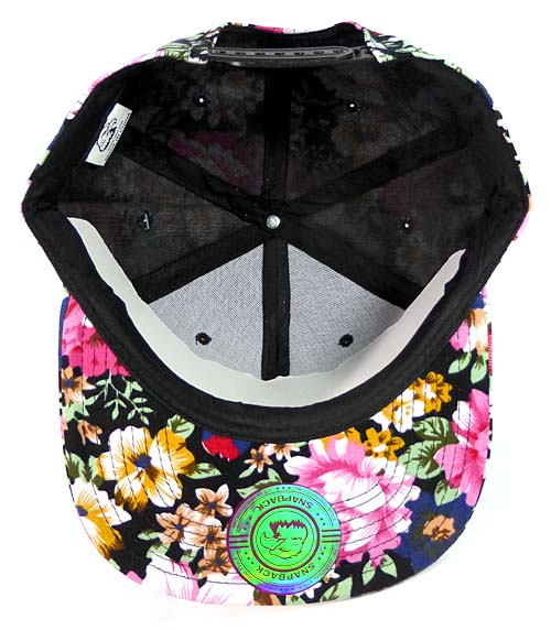 6362ac49 Wholesale Blank Floral Snapback Hats Orange Flower Print Black Brim Bulk